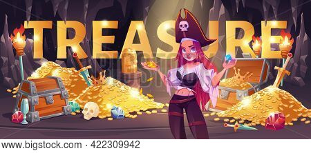 Pirate Girl In Treasure Cave Cartoon Banner, Young Woman In Filibuster Costume And Cocked Hat Hold G
