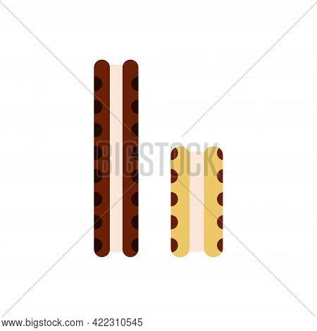 Flat Vector Illustration Of Ice Cream Vanilla Sandwich Between Two Cookies In Dark Brown Color. Isol