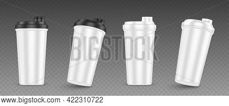 Protein Shaker, Cup For Sports Nutrition, Gainer Or Whey Shake Drink Front View. Plastic White Bottl