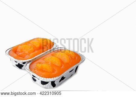 Fresh Baked Sweet And Delicious Mandarin Orange Sponge Cake Decoration With Orange Jelly Sauce And O