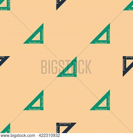 Green And Black Triangular Ruler Icon Isolated Seamless Pattern On Beige Background. Straightedge Sy