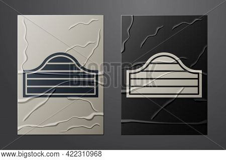 White Old Western Swinging Saloon Door Icon Isolated On Crumpled Paper Background. Paper Art Style.