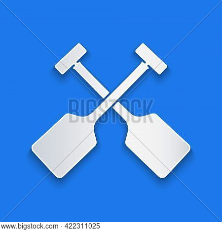 Paper Cut Paddle Icon Isolated On Blue Background. Paddle Boat Oars. Paper Art Style. Vector