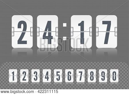 Vector Modern Ui Design Of Retro Time Meter With Numbers. Old Scoreboard Clock Template. White Score