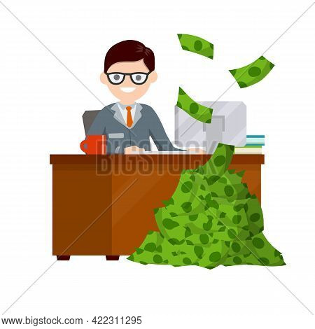 Businessman And Lot Of Money. Office Employee, Salary And Bonus. Cartoon Flat Illustration. Rich And