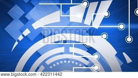 Composition of glowing computer motherboard circuits and microchips with circular scope on blue. global computer and digital security concept digitally generated image.