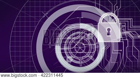 Composition of glowing circuits on computer motherboard with scopes and padlock on black. global computer and digital security concept digitally generated image.