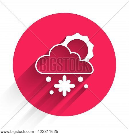 White Cloud With Snow And Sun Icon Isolated With Long Shadow. Cloud With Snowflakes. Single Weather
