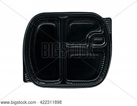 Top View Takeaway Food Box On White Background. Black Colour Takeaway Plastic Food Box, Four Compart