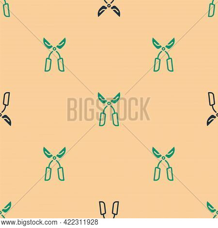 Green And Black Gardening Handmade Scissors For Trimming Icon Isolated Seamless Pattern On Beige Bac