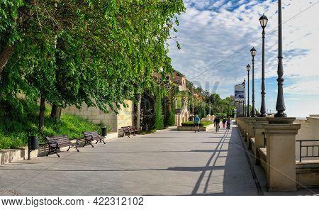 Walking Alley On Golden Coast Beach In Odessa, Ukraine