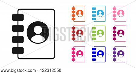 Black Address Book Icon Isolated On White Background. Notebook, Address, Contact, Directory, Phone,
