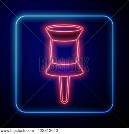 Glowing Neon Push Pin Icon Isolated On Black Background. Thumbtacks Sign. Vector