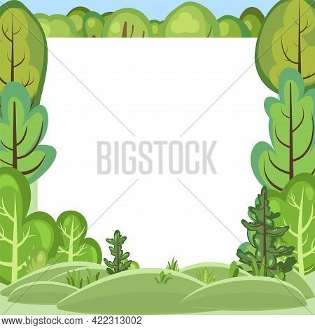 Flat Forest. Frame. Illustration In A Simple Symbolic Style. Hills. Funny Green Landscape. Comic Car
