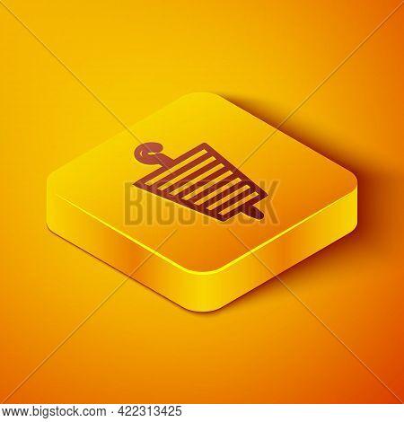 Isometric Line Grilled Shish Kebab On Skewer Stick Icon Isolated On Orange Background. Meat Kebab On
