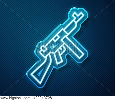 Glowing Neon Line Thompson Tommy Submachine Gun Icon Isolated On Blue Background. American Submachin