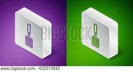 Isometric Line Barbecue Spatula Icon Isolated On Purple And Green Background. Kitchen Spatula Icon.