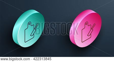 Isometric Line Cutting Board And Knife Icon Isolated On Black Background. Chopping Board Symbol. Cut