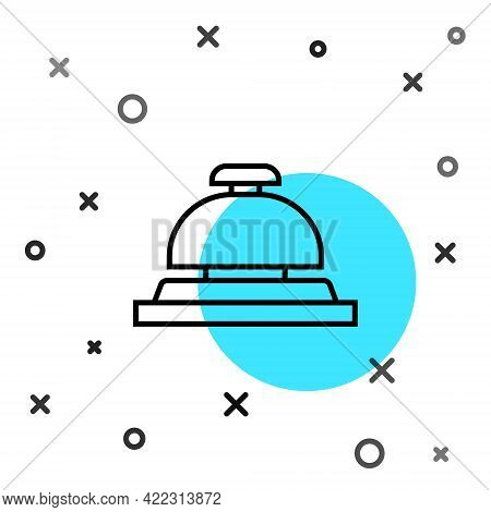 Black Line Hotel Service Bell Icon Isolated On White Background. Reception Bell. Random Dynamic Shap