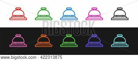 Set Line Hotel Service Bell Icon Isolated On Black And White Background. Reception Bell. Vector