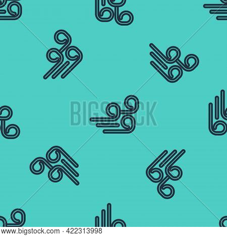 Black Line Windy Weather Icon Isolated Seamless Pattern On Green Background. Cloud And Wind. Vector