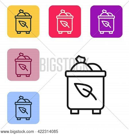 Black Line Recycle Bin With Recycle Symbol Icon Isolated On White Background. Trash Can Icon. Garbag
