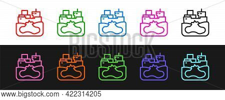 Set Line Wrecked Oil Tanker Ship Icon Isolated On Black And White Background. Oil Spill Accident. Cr