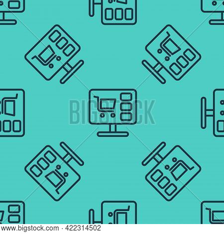 Black Line Shopping Cart On Screen Computer Icon Isolated Seamless Pattern On Green Background. Conc