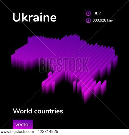 Stylized Neon Digital Isometric Striped Vector Switzerland Map With 3d Effect. Map Of Switzerland Is