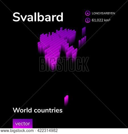 Stylized Neon Digital Isometric Striped Vector Svalbard Map With 3d Effect. Map Of Svalbard Is In Vi