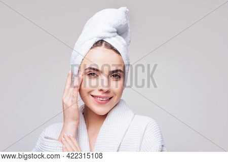 Happy Woman Skin Care Concept. Skincare Products.