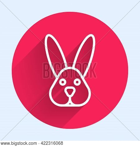 White Line Animal Cruelty Free With Rabbit Icon Isolated White Line Background. Red Circle Button. V