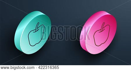 Isometric Line Apple Icon Isolated Isometric Line Background. Excess Weight. Healthy Diet Menu. Fitn