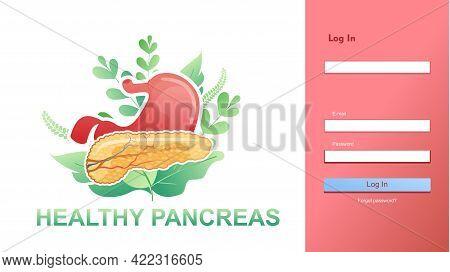 Medical Care Website Login Page Internal Organs Information, Web Registration Form Design