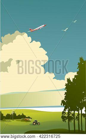 Vertical Retro Poster, Rural Landscape, Cows Graze In The Pasture, Summer Sunny Day, Vector Illustra
