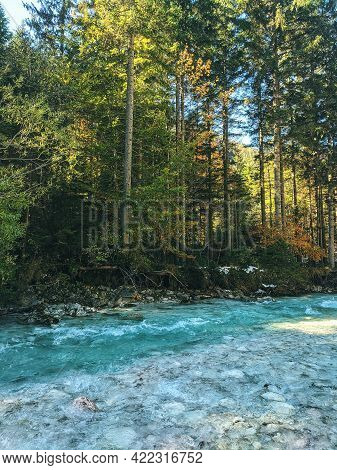 Scenic View Of Blue Lake And Green Forest Against The Blue Sky In Kranjska Gora, Slovenia.