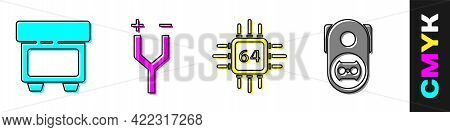 Set Fuse, Electric Cable, Processor With Microcircuits Cpu And Electrical Outlet Icon. Vector
