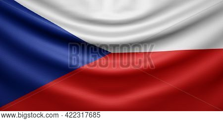 Hanging Wavy National Flag Of Czech Republic With Texture. 3d Rendering.