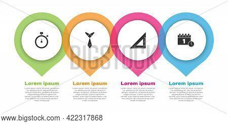 Set Stopwatch, Tie, Triangular Ruler And Calendar First September Date. Business Infographic Templat