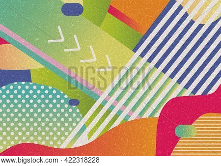 Composition of colourful green, red, orange and blue abstract shapes with white design elements. colour, nature and energy abstract design concept with copy space, digitally generated image.