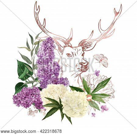 Lush Bouquet With Peonies And Lilac And Rose Gold Deer