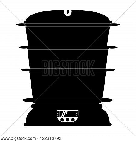 Steamer Silhouette, Kitchen Equipment For Cooking Healthy Food Vector Illustration