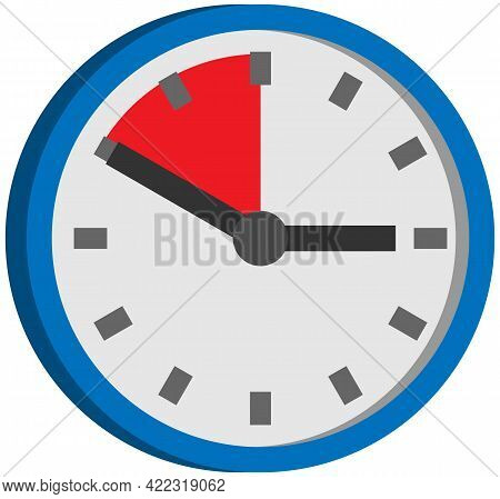 Analog Clock Isolated On White Background. Symbol Of Time Management, Chronometer With Hour And Minu