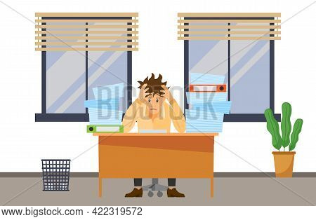 Stressed Overworked Man In Pile Of Office Papers And Documents Trying To Finish Work On Time. Stress