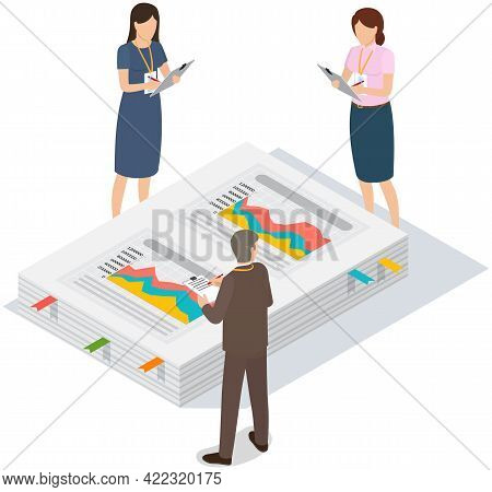 People Work With Data Analysis, Statistical Indicators. Employees Analyze Statistical Indicators, Bu