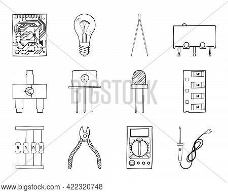 Soldering Icon Set. Hand Drawn Doodle Sketch Design. Vector Illustration.