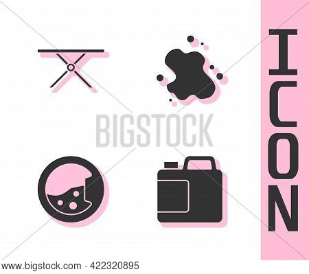 Set Bottle For Cleaning Agent, Ironing Board, Washer And Water Spill Icon. Vector
