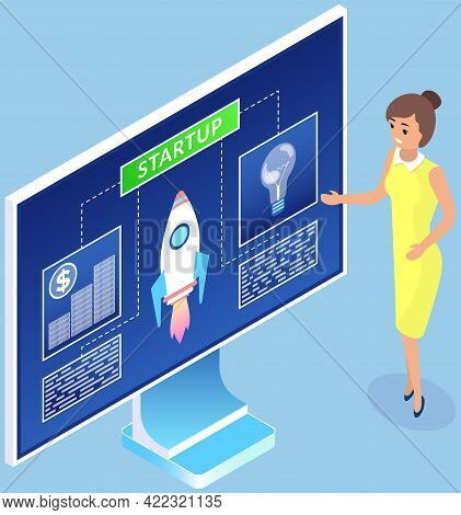 Woman Dealing With Startup Details. Businesswoman Analyzing Info On Computer Screen. Monitor With Ro