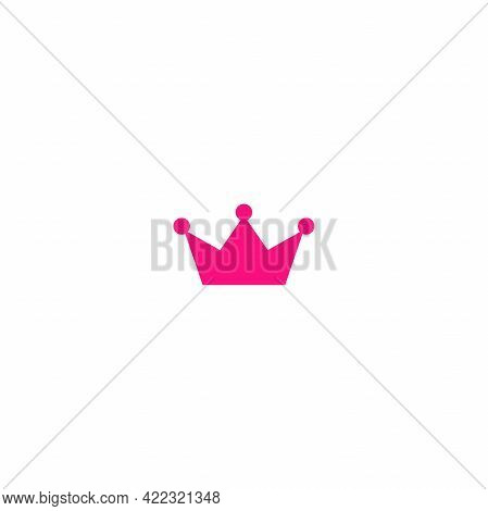 Pink Princess Crown. Pink Crown Icon Isolated On White. Royal, Luxury, Vip, First Class Sign. Winner
