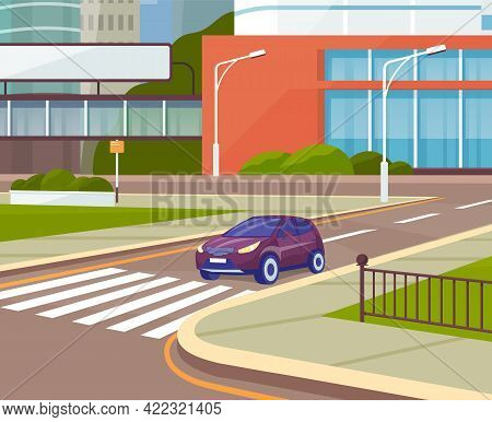 City Road With Traffic. Markings And Sidewalk For Pedestrians. Cityscape, Empty Street, Highway, Urb
